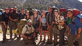 Group picture of students at Sequoia National Park