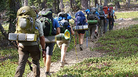 Students backpacking at Yosemite National Park