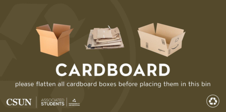 Image to remind everyone to flatten all cardboard boxes before placing them into a bin
